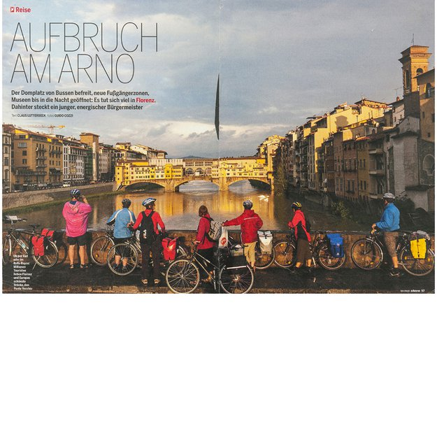 Group of cyclists enjoying beautiful light, Firenze, Italy
